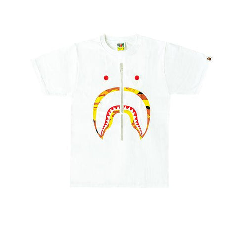 Bape 1st Camo Shark Tee - White/Orange