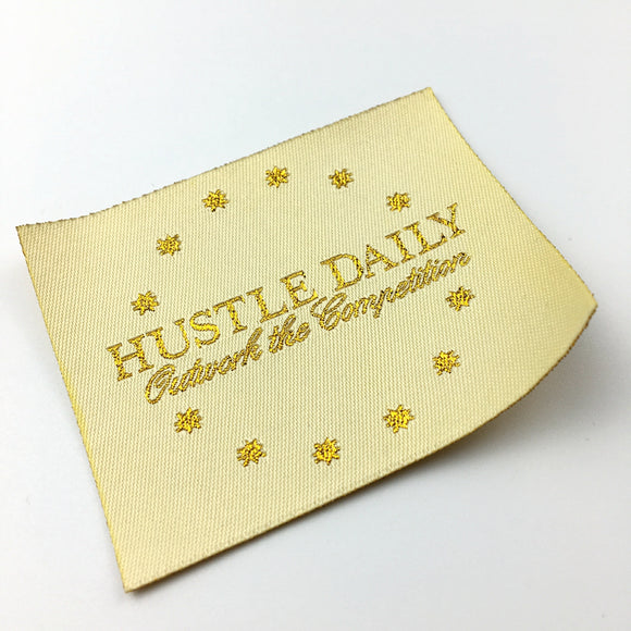 1000 pcs Custom Clothing Labels woven Gold Foil printed labels separate cut folded Labels