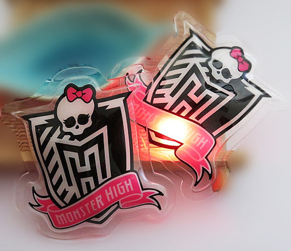 OEM printed cartoon design plastic pvc led flashing clothing label