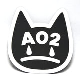 Eco-friendly cat logo black background with white embossed logo soft sew on silicone patch