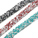 New design nutural rock style mix crystals hot fix rhinestone tape for fashion dress