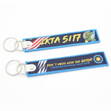 Custom flag logo fabric flight tag woven key chain made in China