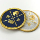 50 Heat Press Custom clothing Badge gold metallic thread Embroidery Patch Iron On Patch