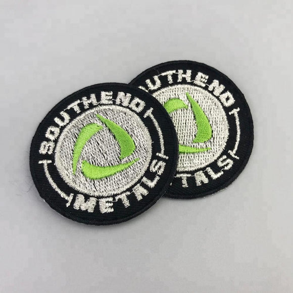 100 High density shape polyester gold silver metallic custom embroidery patch for clothing