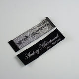 300 wholesale custom logo shiny silver metallic thread logo woven label