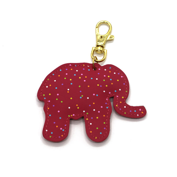 Mini Red Elephant Keyring Leather Keychain Personalised PU Leather Accessories
