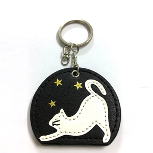 Personalized promotion custom cute kitty leather keychain