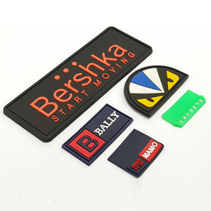 Custom Private Clothing PVC Label Rubber Patch With Raised Logo For Garment