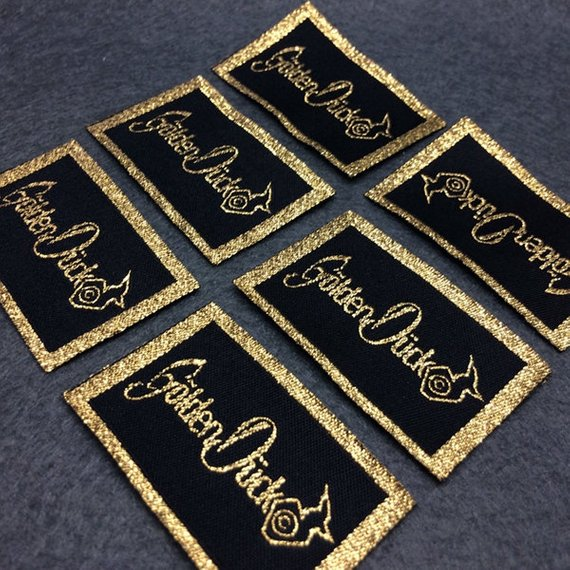 500 pcs Custom gold woven label, gold metallic woven label, garment gold woven label