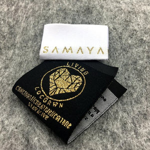 300 pcs Custom gold metallic woven label, damask gold woven label,gold clothing woven label