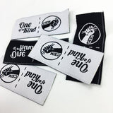 60 Custom woven label, triangle folded fabric cloth labels, center fold woven labels for clothing, Free shippping