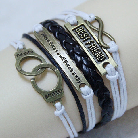 2019 Best Friend Handmade Leather Braid Bracelets & Bangles FREE SHIPPING!