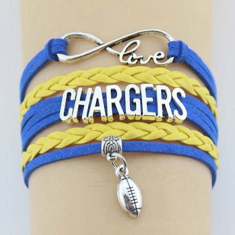2019 Chargers Football Team Bracelet Bangles Handmade Leather Braid Charm Bracelet  FREE SHIPPING!