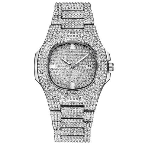 2019 MEN'S Top Luxury Brand Full Steel Rhinestone Quartz Wristwatch -FREE SHIPPING! INTO FLASHY DESIGN! This will will sparkle on the dance floor! MR. DAZZLE said mark them down and SELL! FREE SHIPPING IN USA!