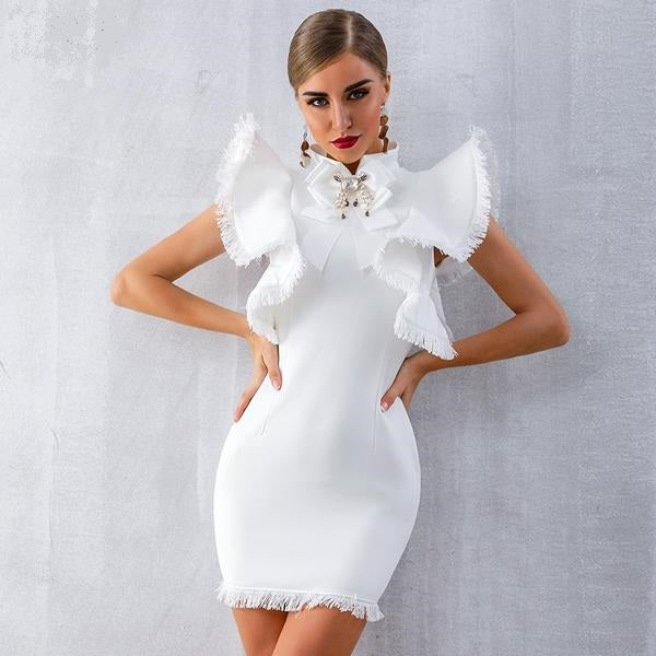 00c52627317e8 Women's Summer Dress- 50% Off Elegant 2019 Beautiful Trending Celebrity  Cocktail Party Dress Sexy Sleeveless Ruffles Tassel White/Black Mini  Bodycon ...