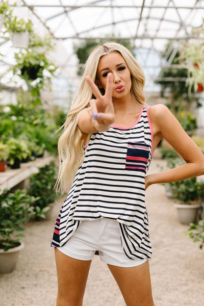 Stripes & More Stripes Tank Top In Navy