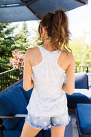 Be Kind Racerback Tank In Marbled White