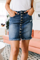 Frayed Hem Button Down Denim Skirt