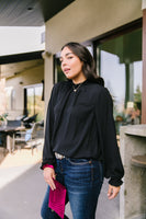 Grace Mock Neck Blouse In Black