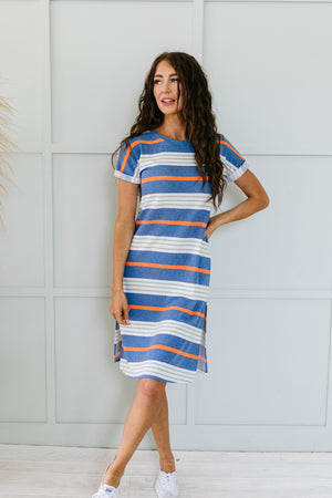 Sunny Day Striped T-Shirt Dress In Blue