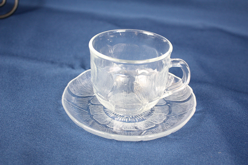 Glass Saucer, with fleur pattern