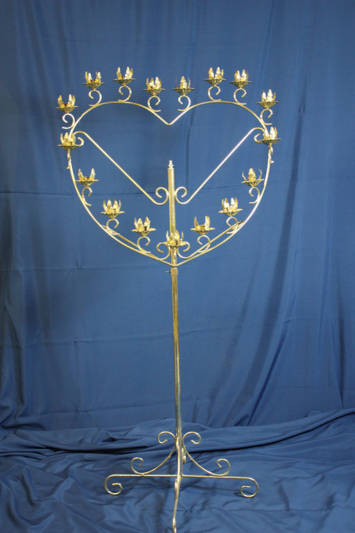 Brass Heart Candelabras, pair