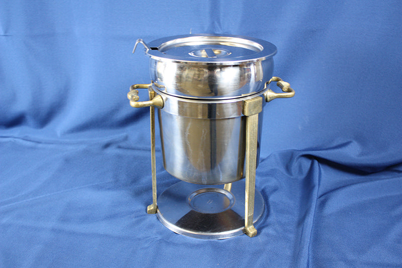 Soup Chafer with brass trim