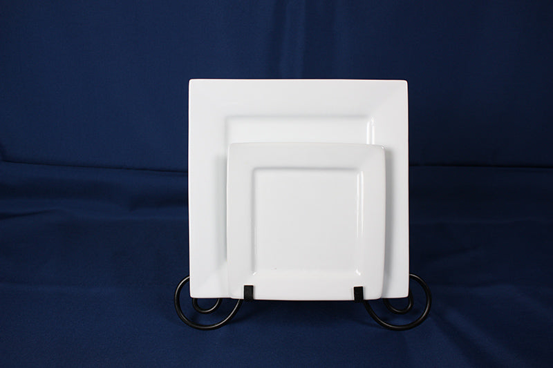 Square White China Plate, 10.5""