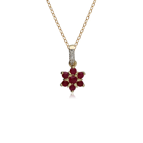 9ct Yellow Gold Ruby & Diamond Flower Pendant