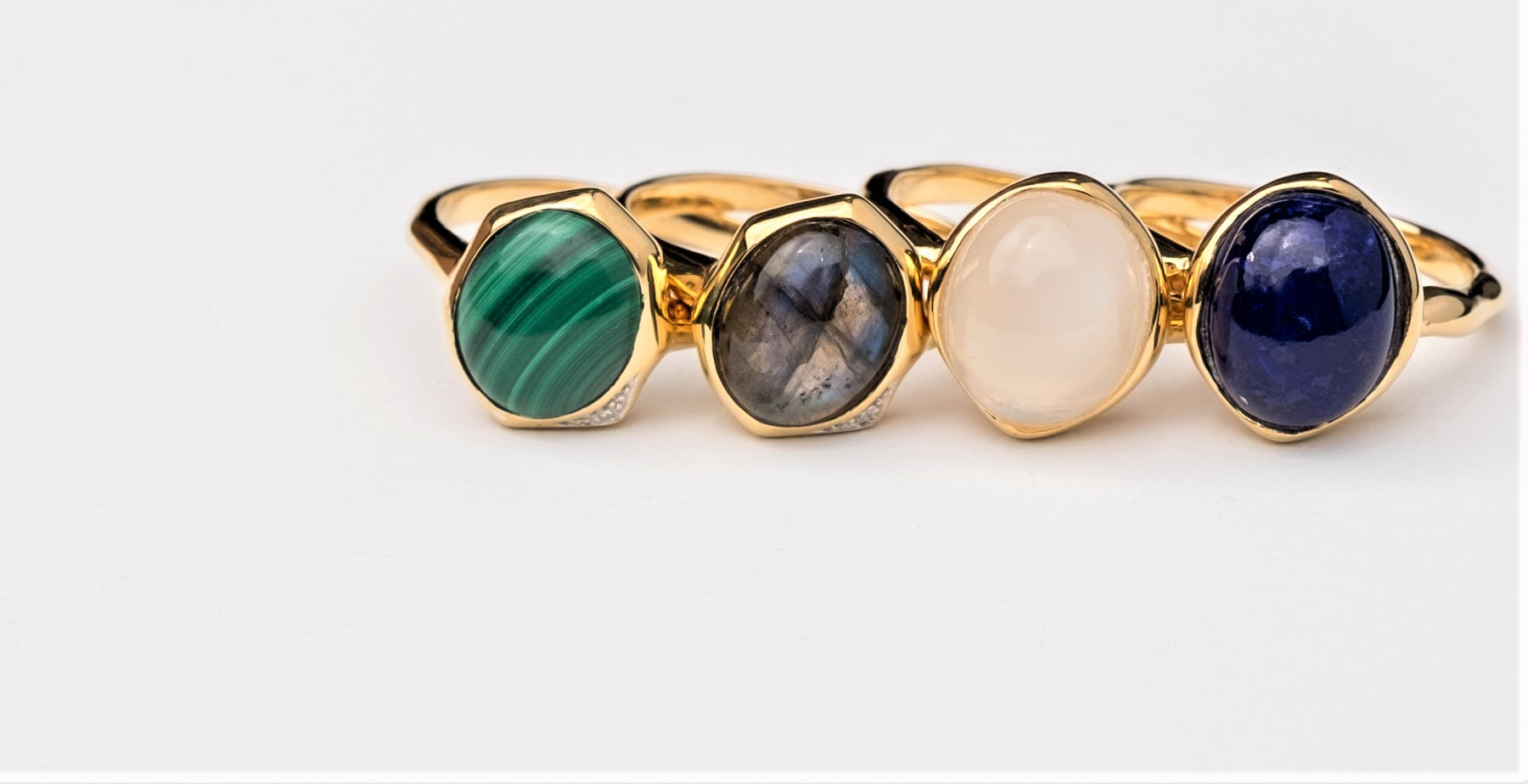 Irregular Gemstone Jewellery Collection |  Green Malachite & Lapis Rings