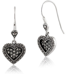image of marcasite set in a pair of earrings