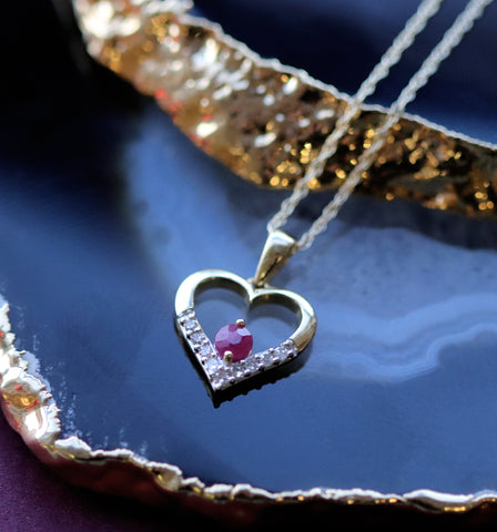Free ruby & diamond heart pendant when you spend £175