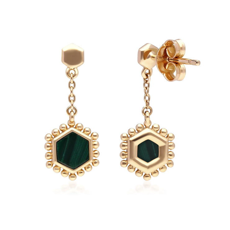 Malachite Flat Slice Hex Drop Earrings in Gold Plated Sterling Silver