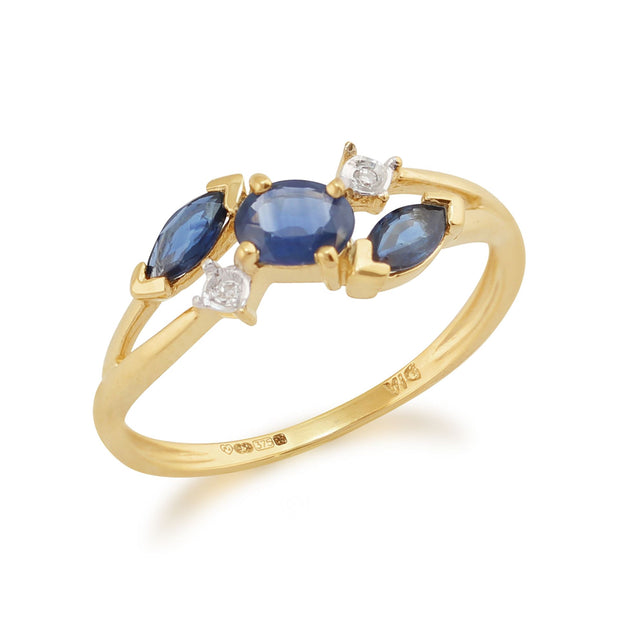 Marquise Light Blue Sapphire & Diamond Three Stone Ring in 9ct Yellow Gold