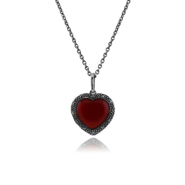 Art Deco Style Heart Carnelian & Marcasite Halo Love Heart Pendant in 925 Sterling Silver