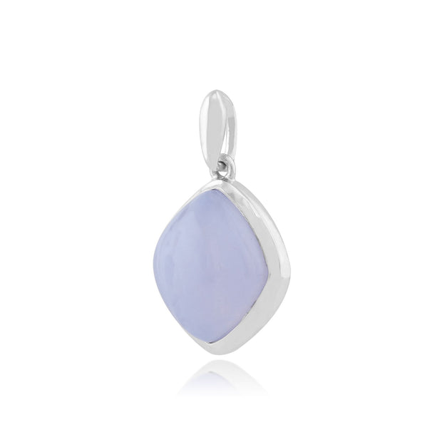 Classic Sugarloaf Blue Lace Agate Bezel Set Diamond Shape  Pendant in 925 Sterling Silver