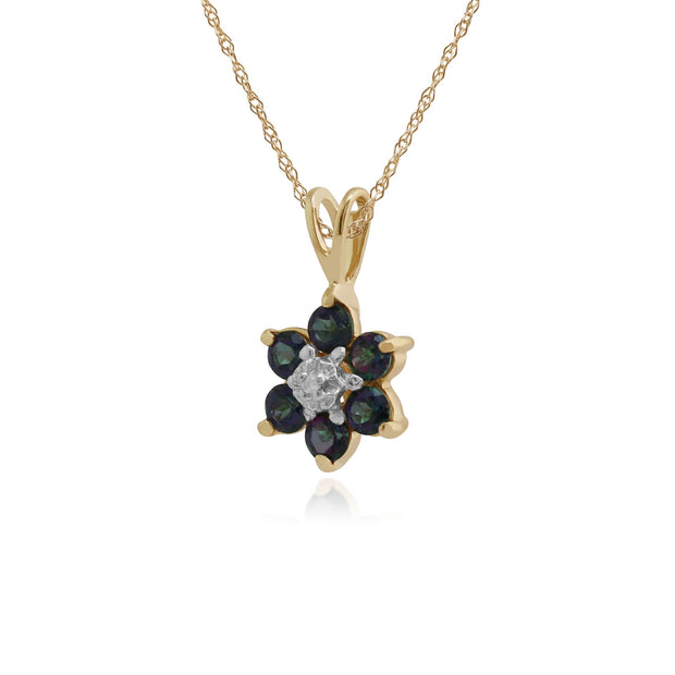 Floral Round Mystic Topaz & Diamond Cluster Pendant in 9ct Yellow Gold