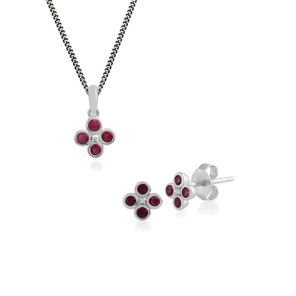 Floral Ruby Clover Stud Earrings & Pendant Set Image 1
