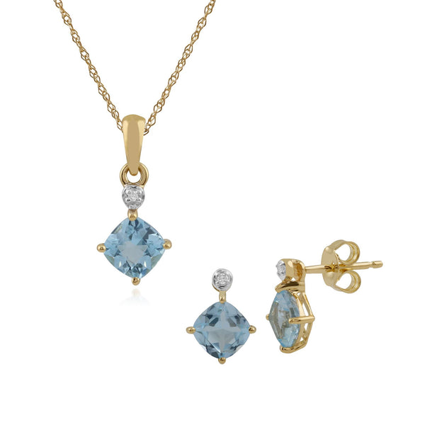 Classic Blue Topaz & Diamond Stud Earrings & Pendant Set Image 1