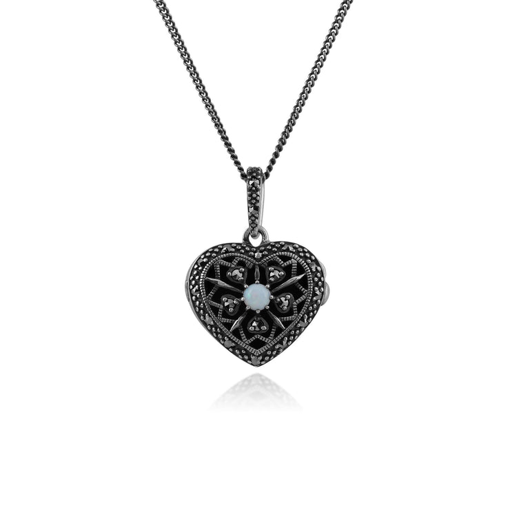 Art Nouveau Style Round Opal & Marcasite Heart Necklace