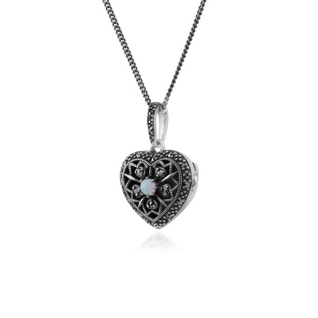 Art Nouveau Style Round Opal & Marcasite Heart Necklace in 925 Sterling Silver