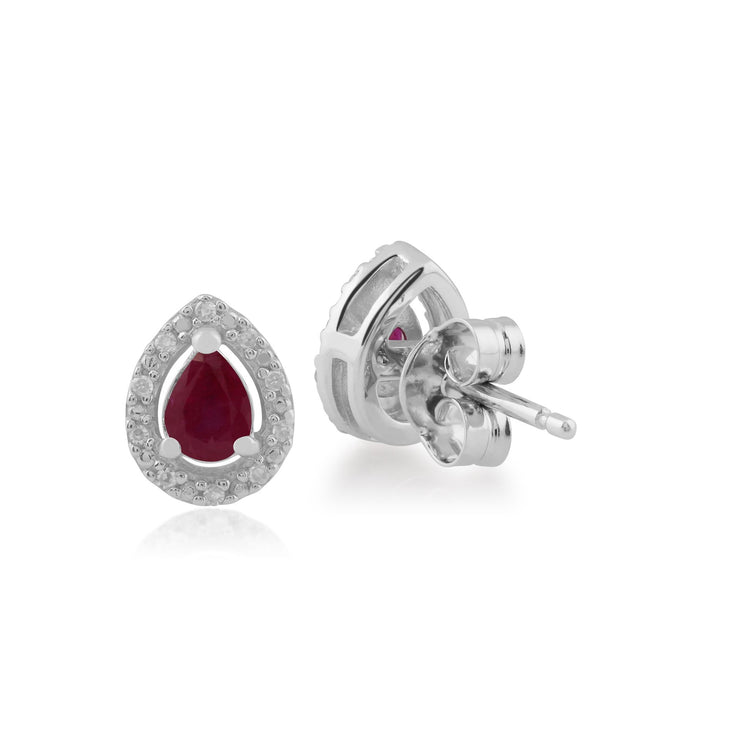 Classic Pear Ruby & Diamond Halo Stud Earrings in 9ct White Gold