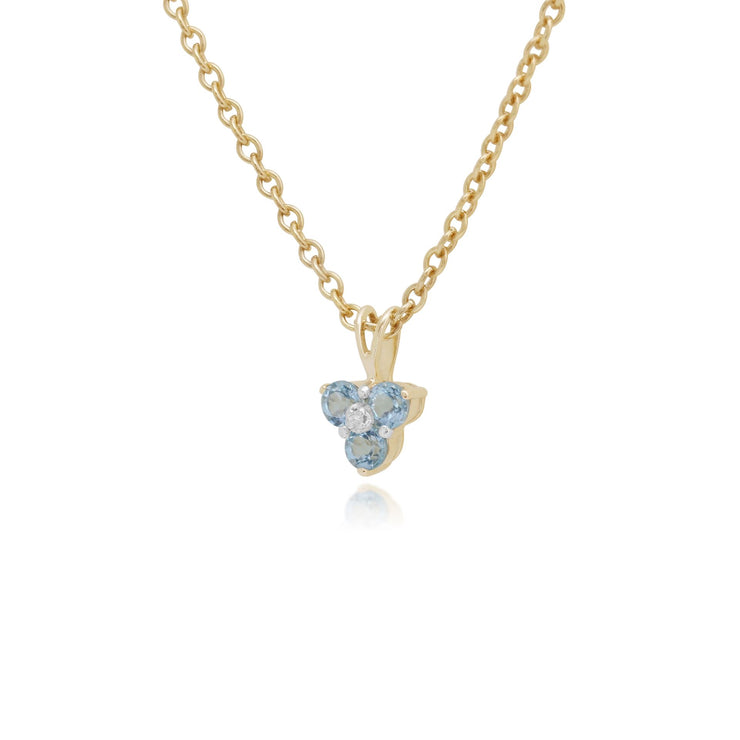 Classic Round Blue Topaz & Diamond Cluster Pendant in 9ct Yellow Gold