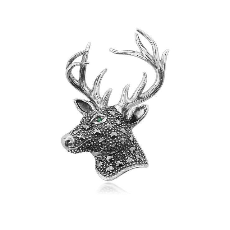 Classic Round Marcasite & Emerald Stag Brooch in 925 Sterling Silver