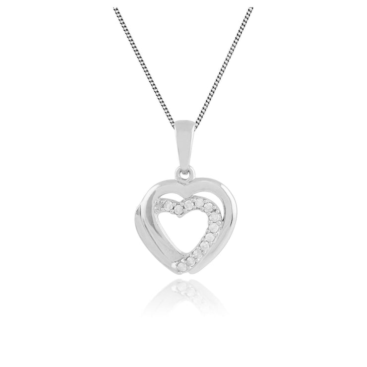 Classic Round Diamond Heart Pendant in 9ct White Gold