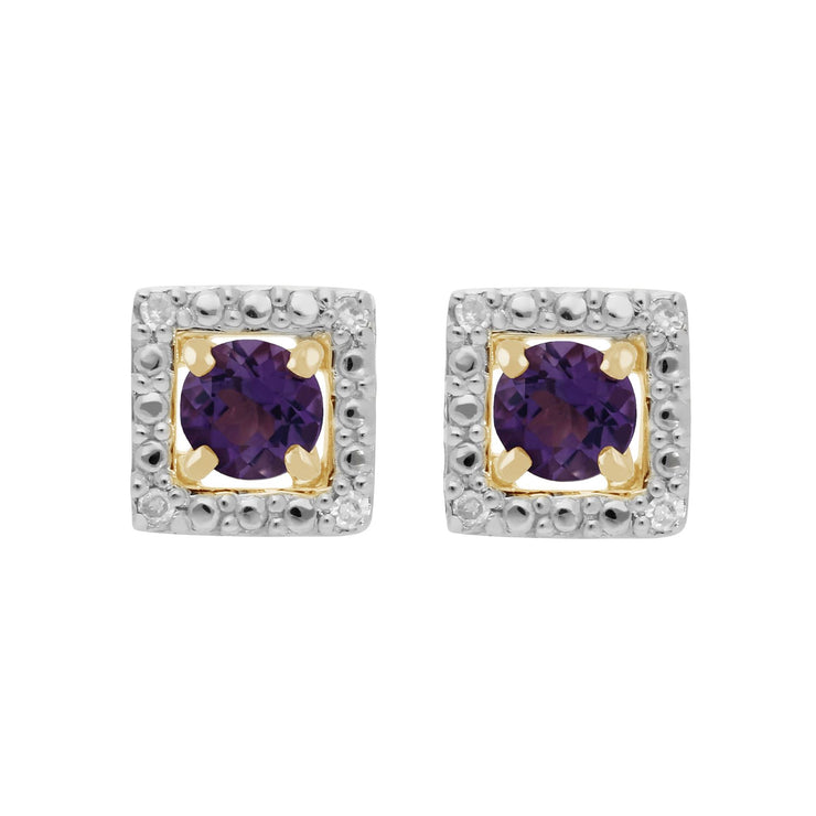 Amethyst Stud Earrings & Detachable Diamond  Ear Jacket in Yellow Gold