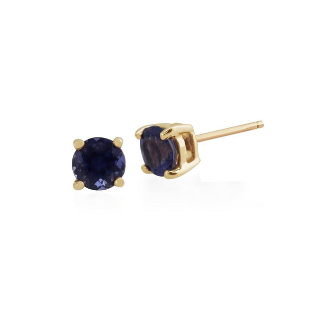 Classic Round Iolite Claw Set Stud Earrings in 9ct Yellow Gold