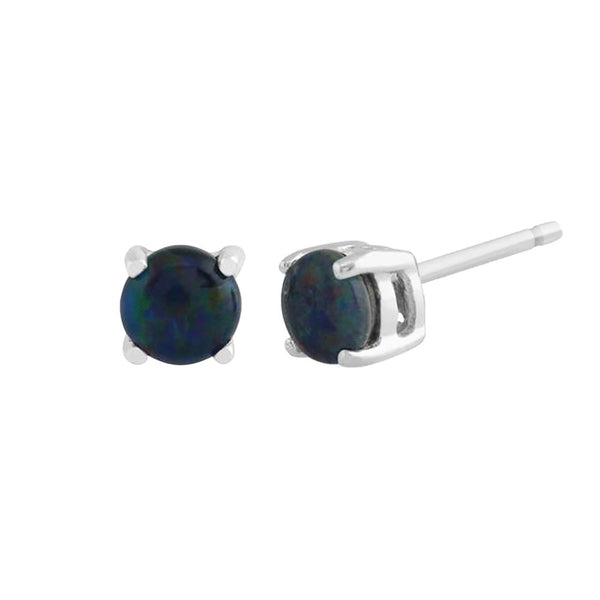 Classic Round Triplet Opal Claw Set Stud Earrings in 9ct White Gold