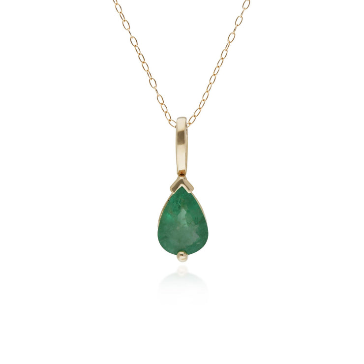10ct Yellow Gold Emerald Single Stone Pear Pendant on 45cm Chain