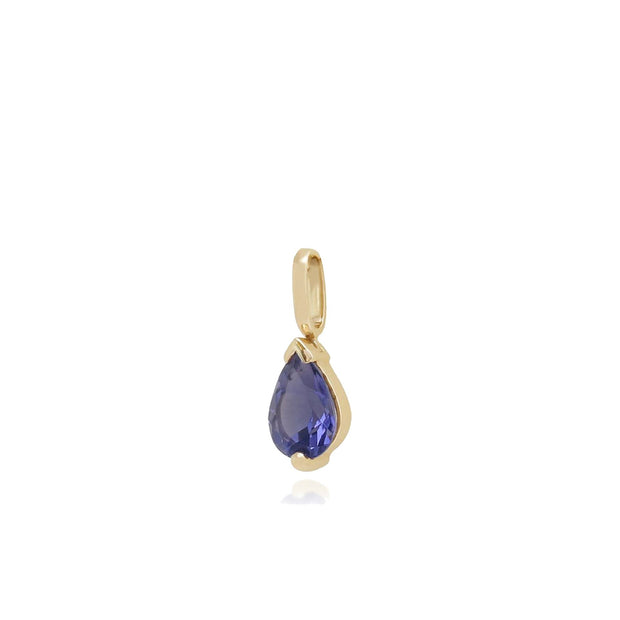 Classic Pear Iolite Claw Set Single Stone Pendant in 9ct Yellow Gold